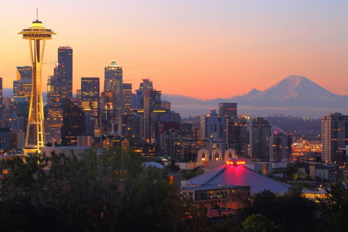 Photo of Seattle at sunrise
